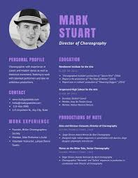 Dance Resume New Purple Theater Choreographer Dancer Resume Templates By Canva