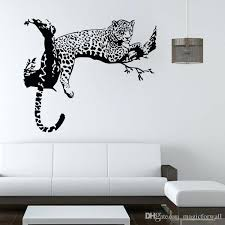 white wall decal leopard on tree wall art mural decor living room bedroom wall decal poster white wall decal