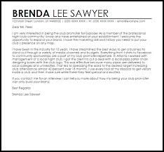 Club Promoter Cover Letter Sample