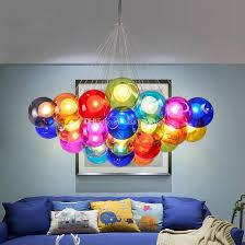 modern crystal chandeliers colorful glass ball warm white led pendant lamps lights for dining room living room bar g4 led bulb ac 85 265v 110v 240v led