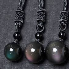 image is loading natural crystal black obsidian necklace pendant stone rainbow