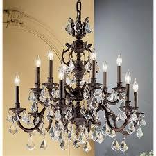 get ations cau 12 light crystal chandelier aged pewter crystalique black