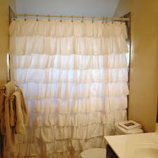 solid white ruffle shower curtain