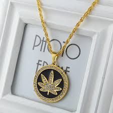 men s hip hop gold plated ice out round maple leaf pendant 28 chain