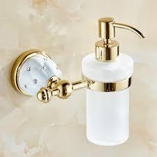 Antique Gold Brass Liquid Soap Dispenser BottomCrystal Stone