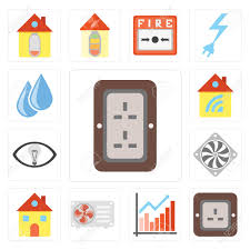 Set Of 13 Simple Editable Icons Such As Plug Chart Air Conditioner