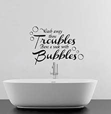 wash away your troubles bathroom quote vinyl wall art decal sticker 16 colours available black on toilet wall art stickers with wall stickers for bathrooms uk my web value