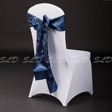 free 100 french blue satin chair sash for wedding decoration party supplies us navy
