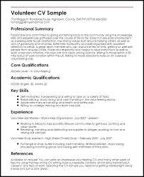 Volunteer Work In Resume Volunteer Resume Volunteer Experience