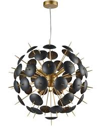 franklite dandy 12 light ceiling pendant globe matt black gold