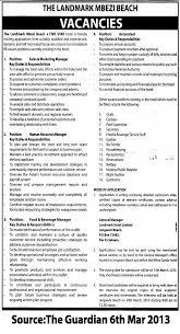 Sales & Marketing Manager, Human Resource Manager. Food & Beverage ...
