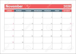 November 2020 Calendar Clip Art