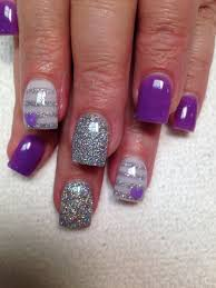 Pink Purple And Silver Nail Designs Purple And Silver Acrylic Nails Purple Heart Silver