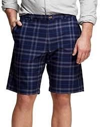 Merona Mens Big Tall Chino Club Shorts 31 Navy Plaid