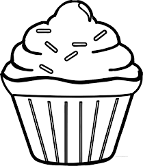 For kids & adults you can print cupcake or color online. Cool Simple Cupcake Coloring Page Cupcake Coloring Pages Easy Coloring Pages Coloring Pages