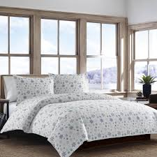 ed bauer tossed snowflake flannel duvet cover set