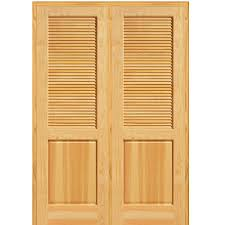 half louver 1 panel unfinished pine wood right hand active double prehung interior door