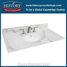 hot on man made calacatta white nq5092 custom solid surface quartz engineered stone vanity top bathroom countertops