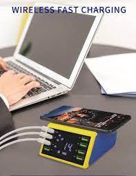 Ac 100-240V Lcd Dijital Ekran 8 Port Usb Akıllı Şarj Cihazı Desteği Qc 3.0  Ile