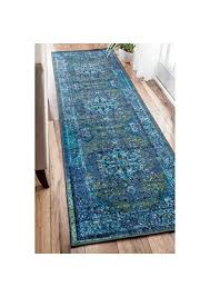 nuloom traditional vintage inspired overdyed fancy blue runner rug 26 x 8 machine made vevakpvkv