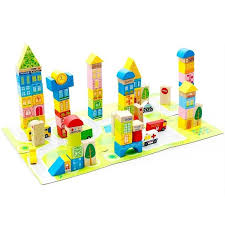 wooden city and building learning educational blocks