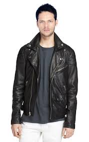 mens snap down collar leather biker jacket with
