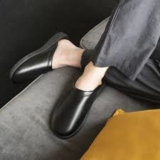 classic mens faux leather mule slippers black