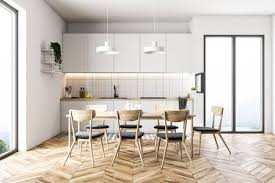 French Kitchen Designs Extraordinary French Window Kitchen With White Walls A Wooden Floor A Table