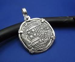 silver spanish shield colonial pirate shipwreck coin pendant necklace atocha cob
