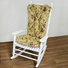 white wooden rocking chair. White Wooden Rocking Chair With Tall Back Completed By Yellow Floral Cushion G