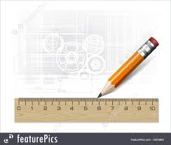 drawing tools. Artistic Tools: Technology Blueprint Abstract Design With Pencil And Ruler Drawing Tools