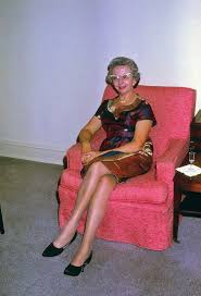 Old woman in pantyhose