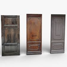 old wooden doors 3d model low poly obj mtl 3ds dae skp unitypackage prefab 2