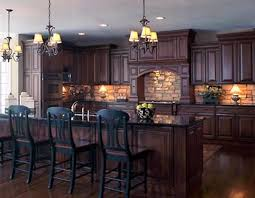 dark kitchen cabinets. Brown Painted Kitchen Set Color In Dark Cabinets Finished With Double Chandelier Feat Stone Backsplash Mid Century Designs Photos