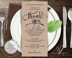 Table Setting Templates Wedding Place Setting Thank You Card Instant Download