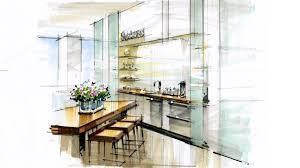 Marker Rendering Interior Design Tutorial Hand Rendering Interior 170112 Reception Kitchen