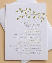 Funeral Invitation Template Extraordinary Celebration Of Life Invitation With Green Leaves Personalized