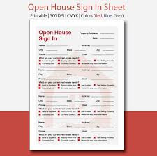 Email Sign Up Sheet Template Interesting Real Estate Open House Sign In Sheet Open House Sign In Open Etsy