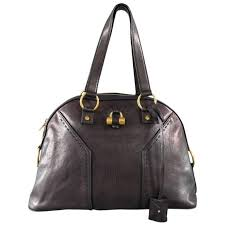 yves saint lau ysl muse black brown leather tote handbag for