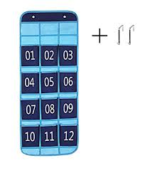 Classroom Pocket Chart Calculator Holder Cell Phone Door Wall Organizer 12 Pockets