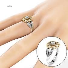 Exquisite Rhinestone Inlaid <b>Chrysanthemum</b> Ring Lady Prom Party ...