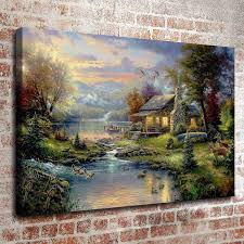 thomas kinkade oil painting landscape rural cottage series 3 picture art hd canvas print wall art pictures home decor living room decoration thomas kinkade