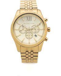 michael kors men s oversized lexington watch gold in metallic lyst michael kors men s oversized lexington watch gold lyst