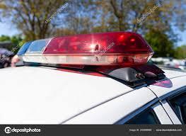 Mirror Emergency Lights Emergency Lights American Police Car Stock Photo