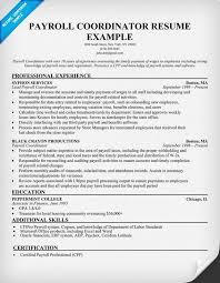 Payroll Coordinator Resume Sample Resumecompanion Com Money