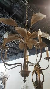 american palm tree frond leaf leaves chandelier vintage metal tropical hollywood regency for