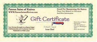 sharpening gift certificate