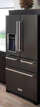 Black stainless steel appliances give your kitchen a bold, sleek look.  KitchenAid's 5-