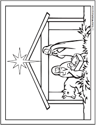 Profile of the virgin with the child. Christmas Nativity Scene Coloring Picture