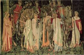 the arming and departure of the knights one of the holy grail tapestries by edward